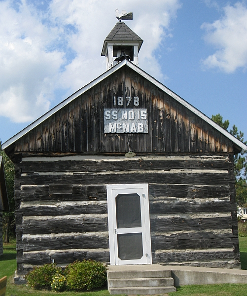 Another one-room log schoolhouse, dated 1865, now at Calagobie Pioneer Museum, Ontario. My own school, originally built in 1845, would have looked like this back then, but was destroyed by fire in 1854. Its successor was replaced in 1885 with a yellow-brick building that remained in use until about 1965.